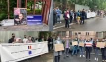 """FOTO/VIDEO """"Europa ar trebui să fie mai fermă contra lui Lukashenko!"""". Protestatarii din fața Ambasadei Belarusului la București au fost pozați pe furiș din interiorul clădirii"""