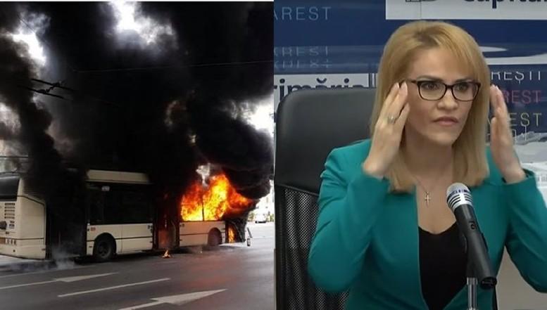 VIDEO Un troleibuz a luat foc în centrul Capitalei. Bucureștenii își revarsă furia pe pagina de Facebook a edilului Gabriela Firea, comentariile fiind atât de multe încât sunt șterse cu greu