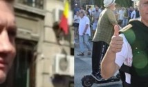 VIDEO Un lacheu de-al Vioricăi l-a bruscat pe Marian Ceaușescu. Ulterior, valetul pesedist le-a ordonat jandarmilor să-l ridice pe protestatar