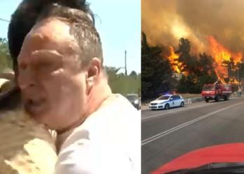 """VIDEO. Grecia arde din nou. Pompierii români sunt primiți cu urale și lacrimi. Un grec izbucnește în plâns și-l ia în brațe pe reporterul român care transmite de la fața locului: """"Mulțumim"""""""
